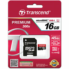 Transcend 16GB Class 10 MicroSDHC Card 300X Speed- TS16GUSDU1- Authorized Dealer