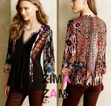 Nip Anthropologie Embroidered Spectral Peasant Tunic Top Blouse XS Ranna Gill