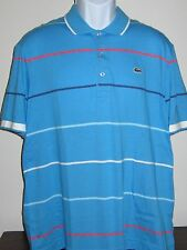 LACOSTE Sport Polo 100% Cotton Mens X-Large size 7 med. blue w/ multi stripe NWT