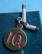 Vintage enamel I Quit smoking cigarette gold plated sterling charm