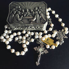 Bali Sterling Silver Cross Bead & AAA 8-9mm Real Pearl Rosary necklace Cross box