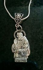 Sterling silver 22inch necklace Padre Pio tibetan silver charm Christmas gift