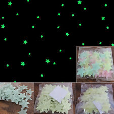 100 piece 3D Stars Glow In The Dark Luminous Fluorescent PVC Wall Stickers EWUK