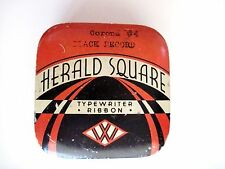 "Vintage Typewriter Ribbon Tin ""Herald Square"" - Corona #4 Black Record *"