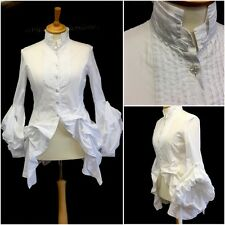 Chique Ladies White Cotton Victoriana Fitted Hitched Gothic Shirt UK 14/16 Punk