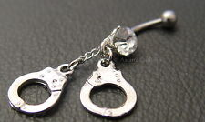 HANDCUFFS BDSM SURGICAL STEEL BELLY or NAVEL BAR BELL  Wicca Witch Pagan Goth