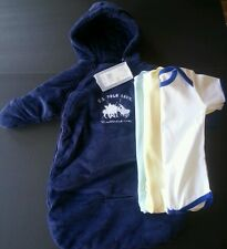 4pc US POLO ASSN SNOW SUIT COAT WINTER BLUE BABY 0-9 M 3 Onesies boys girls NWT