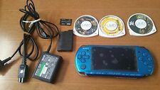 Sony PSP 3000 Vibrant Blue Handheld System & charger & 3 games