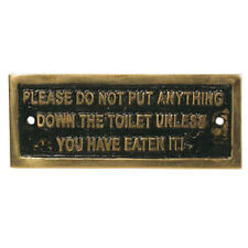 """DOWN THE TOILET"" BRASS PLATE FOR CANAL BOAT, NARROW BOAT, BARGE,CRUISER"