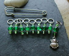 Green Glass Beads Owl Knitting Stitch Markers Knitting Accessory Gift Handmade