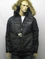 Ecko Unltd Detachable Hood Fur Denim Puffer Jacket Coat Medium