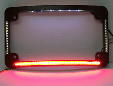 Quad LED Curved Motorcycle License Plate Frame - Black w/ Taillight & Turns