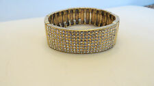 RJ Graziano Antique Goldtone Crystal Pave Stretch Bracelet SML/MED 381255