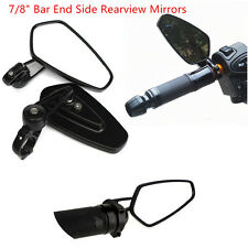 "Universal Black Motorcycle Billet Aluminum 7/8"" 22 Bar End Side Rearview Mirrors"