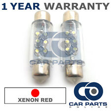 2X RED NUMBER PLATE INTERIOR LIGHT 6 DOME LED BULBS 39MM 03RX2