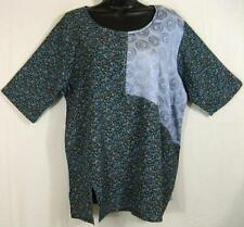 T356~TIENDA HO~Green/Blue~NOTHING MATCHES~FLORAL DESIGN~Rayon Top~Vent~s/s~OS XL