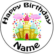 """Personalised Candy Castle Icing Cake Topper Round Easy Pre-cut 8"""" (20cm)"""
