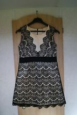 Sweewe Paris Light Coral/Cream Black Lace Prom Party Dress-Size S/M-Exc.Cond