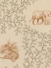 Jungle Animals Toile Outlined in Leaves Wallpaper - TS38072