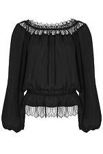 Tamara Mellon New Lace Trim Off the Shoulder Silk Blouse sz 12 US