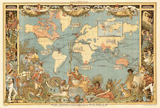 "Vintage Old World Map British Empire 1800's CANVAS PRINT poster 16""X12"""