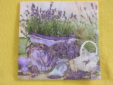 5 Servietten  Lavendel lavender 1/4 korb deko säckchen herz kerze tasse Blumen