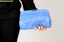 80S VINTAGE ELECTRIC BLUE FAUX LEATHER CLUTCH BAG WITH ACRYLIC FRAME - DEADSTOCK