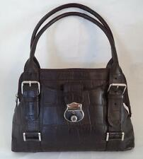 JOSHUA TAYLOR BROWN CROC PRINT LEATHER HANDBAG BAG LOCKING