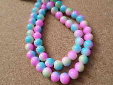 30 x Sprayed Painted Glass Beads - Round - 8mm - Rainbow