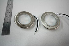 2 x 70mm Campervan/Motorhome 12v LED Spotlight/Downlights, Brushed Nickel,