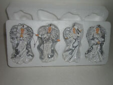 Home Interiors  Set of 4- Resin Angel Ornaments Gorgeous NIB