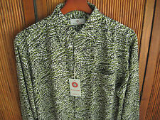 NWT Mens Silk Camp Shirt Floral Button up Long Sleeved Green Hawaiian New Large