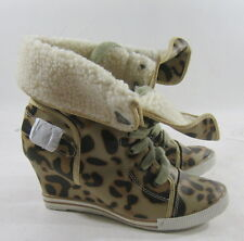 "NEW beige/cheetah print 3"" high wedge heel sexy ankle boot fur inside size 7  P"