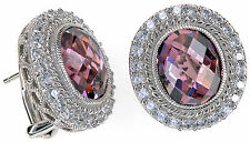 Judith Ripka 15.4 Ct tw Pink Diamonique Oval Button Sterling Silver Earrings