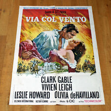 VIA COL VENTO manifesto poster Gone with the Wind Clark Gable Vivien Leigh 1939