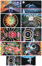 Lot of 10 Posters UV Black Light Fluorescent Glow In The Dark Psychedelic Art