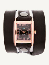 LA MER Watch Simple Black  Leather Wrap Rose Gold Square Black Dial
