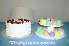 """Tupperware WHITE Carry All Canister 12"""" Cake Carrier ~EggCeptional Tiered Server"""