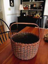 PRIMITIVE MARKET BASKET ASH WOVEN WOOD SPLINT DRAWN HANDLE