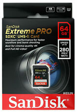 SanDisk 64GB Extreme Pro SD SDXC 280MB/s Class 10 UHS-II U3 Memory Card 64G