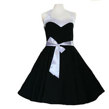 Rockabilly 50er   Kleid Petticoat Pin Up Party Baumwolle S-M 59 schwarz