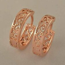 Antique 9K Rose Gold Filled Openwork Womens Hoop Earrings F4828