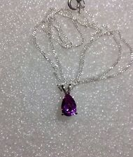 Sterling Silver Pear Cut Alexandrite Purple Sapphire Pendant Necklace 1.70CT 18""