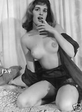 60s Nude topless D Cup pinup in black satin 5 x 7 Photograph