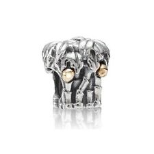 New Pandora 925 Silver & 14ct Gold Tropical Palm Coconut Tree Charm 790521