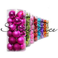 24 Shatterproof Xmas Baubles Christmas Tree Decor Hanging Party Ornament