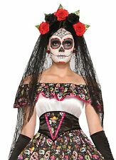 DAY OF THE DEAD VEIL WEDDING BLACK RED ROSES HALLOWEEN HEAD ACCESSORY