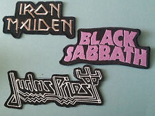 SET OF THREE MUSIC SEW/IRON ON PATCHES:- BLACK SABBATH IRON MAIDEN JUDAS PRIEST