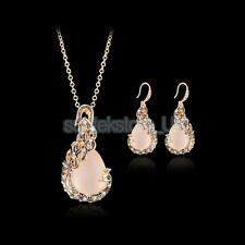 Gold Filled Opal Crystal Peacock Necklace Earring Set Wedding Bridal Jewelry