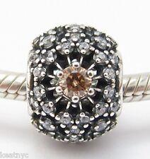 GOLDEN RADIANCE CHARM Clear CZ Bead Sterling Silver.925 For European Bracelets